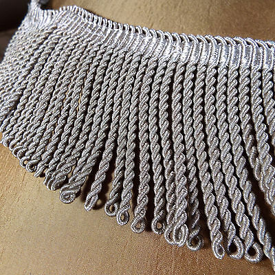 Antique French Empire Silver Metallic Tassel Fringe Trim 55""