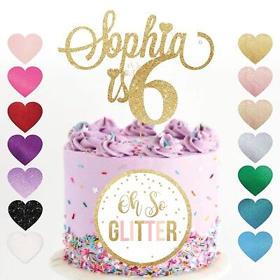 Name Cake Topper six glitter Custom Personalised Topper fifth 5th 5 6 6th five