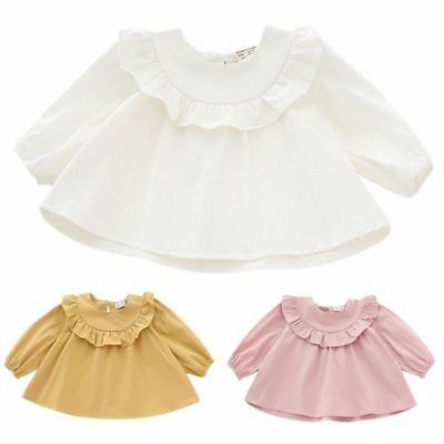 Toddler Baby Girl's Long Sleeve Blouse Casual Loose Ruffle Collar T-Shirts Tops