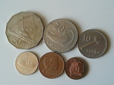 Fiji set of 6 coins 50+20+10+5+2+1 cents 1969-1977 (m)