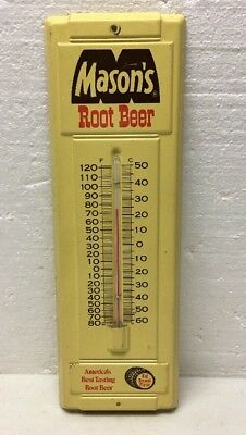 HTF Vintage Mason's Root Beer Tin Advertising Thermometer / Soda / Sign