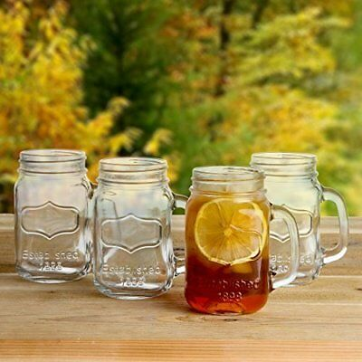 Lily's Home Old Fashioned Vintage Inspired Mason Jar Glasses With Handles