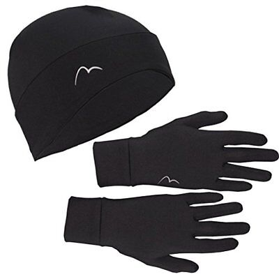 More Mile Chill Brushed Running Beanie and Glove Set - Black - Size L/XL