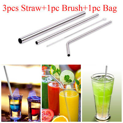 3Pcs Reusable Straight/Bend Stainless Steel Drinking Straw +1Pc Cleaner Brush
