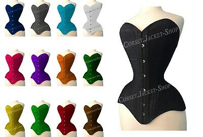 Heavy Duty Double Steel Boned OverBust Long Line Waist Training Cotton Corset M9