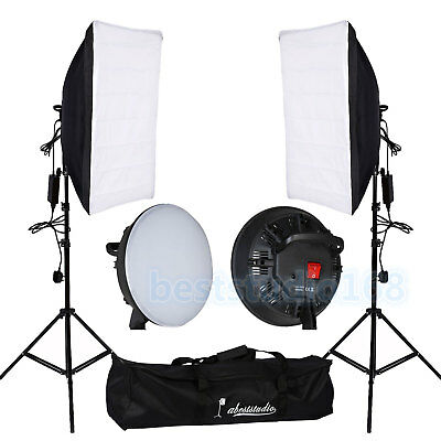Photography Studio 2x 30W LED Softbox Continuous Lighting  Light Stand Kit New