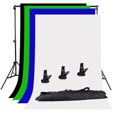 Photography Background Support Stand Kit Studio Black White Green Blue Backdrop