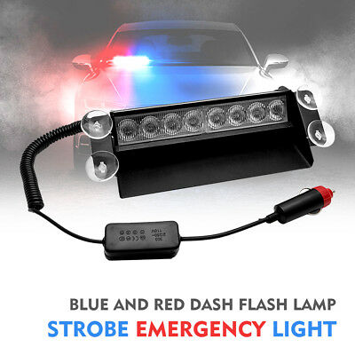 8LED Blue Car Police Strobe Flashing light Warning  4Sucker Dash Emergency Lamp