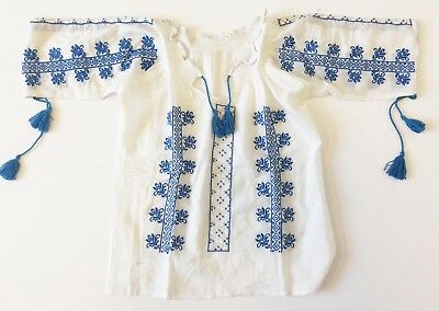 Antique folk peasant Romanian embroidered blouse dress /Transylvania /M /L Cotto
