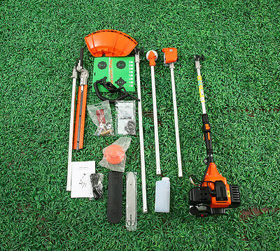 52cc 5in1 Petrol Hedge Trimmer Chainsaw Strimmer Brushcutter Garden Multi Tool b