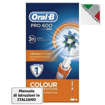 Oral B Pro 600 Crossaction Colour Edition Arancio Spazzolino Elettrico Braun