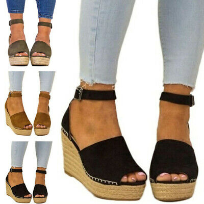 bc27cb70a242 Girls Women Ankle Strap Platform Wedge Sandals Espadrille High Heel Shoes  Size