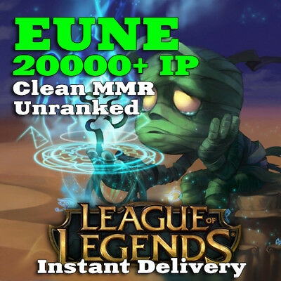 League of Legends EUNE Account LoL 20000 BE IP Smurf Unranked Level 30 PC
