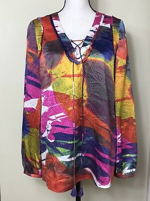 5eddbfbd8bc5 Tory Burch Womens Tunic Top Size 10 Multi Color Lace Up 100% Silk Blouse