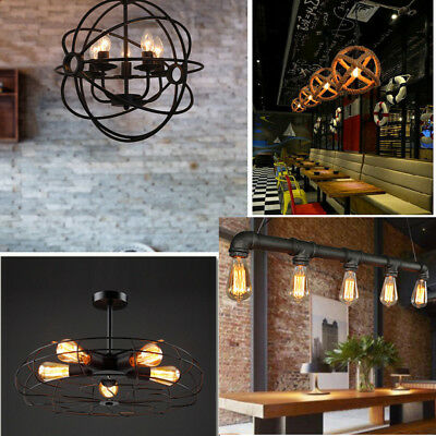 Vintage Industrial Metal Hanging Ceiling Lamp Pendant Light Fixture 4 Styles