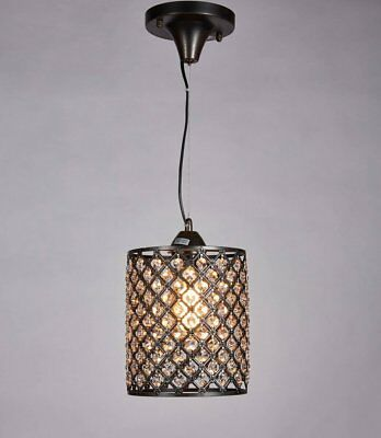Diamond Life Antique Bronze Finish 1-light Round Crystal Chandelier Mini Hanging