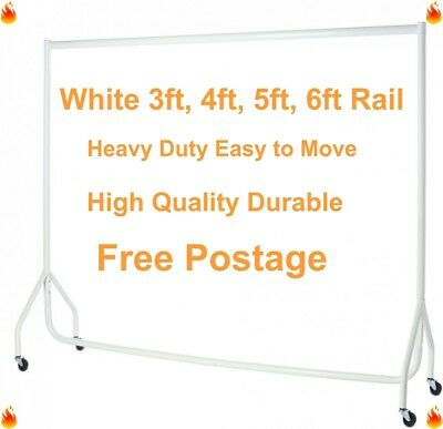HEAVY DUTY Clothes Rails WHITE 3ft,4ft,5ft,6ft Garment Hanging Shop Displays🔥