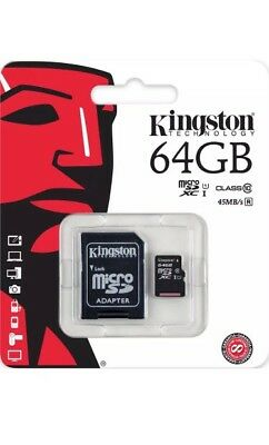 MICRO SD MEMORY CARD 10 class  KINGSTON 64GB UHS-1 MOBILE CAMERA TABLET+Adapter