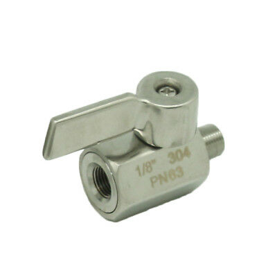 "1/8"" Stainless Mini Ball Valve With Stainless Handle, NPT FxM Thread SS304"