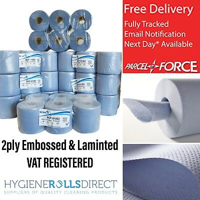 48 rolls(8 PACKS)x BCF1812E2 Blue Centrefeed Embossed 2ply Wiper Paper Towel 85M