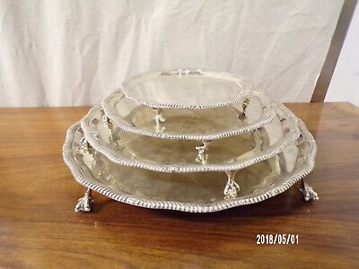 English solid Silver Set Of 4 Graduated Salvers, London 1936, 2134grams