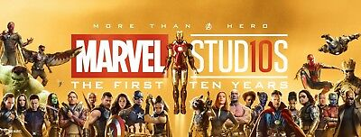 "Marvel First 10 Years Poster Avengers Spiderman Iron Man Doctor Strange 60""×23"""