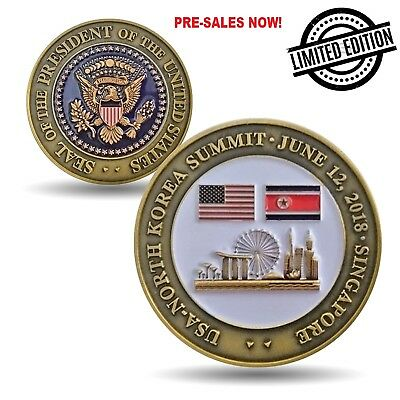 Trump Kim Jong-Un NoKo Peace Talks Summit Commemorative Coin Collectible Gift