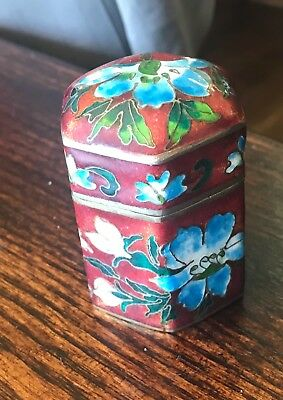 Antique Chinese Cloisonne and Enamel Six Sided Opium / Trinket Box