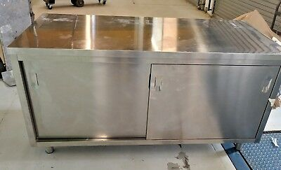 """Stainless Steel Counter With Sliding Door Storage Industrial 63"""" x 27 1/2"""""""