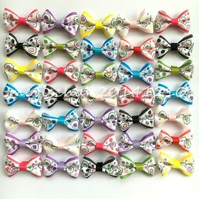 10-500pcs Handmade Pet hairpins puppy Hair Clips Dogs cat Bow Ribbon rubber band