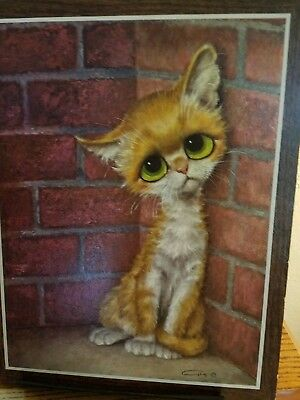 MCM Gig Sad Big Eyed Cat Print on cardboard 11 x 14 1965