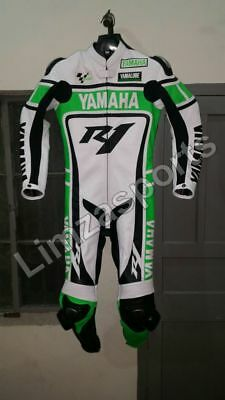 YAMAHA-R1-Green Motorcycle Riding Leather Suit-Motorbike Racing MotoGp-ALL Sizes
