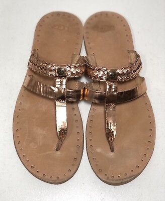 fbc9a3237271 UGG AUSTRALIA Women s 10 M Audra Rose Gold Metallic Leather Braided Thong  Sandal