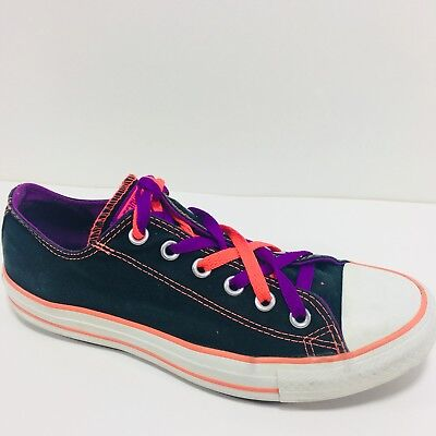4c48f8e193f6 Converse All Star Size 9 Black Orange Canvas Low Top Sneakers Shoe Lace Up