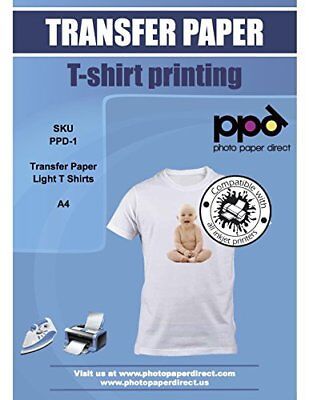 PPD Inkjet T Shirt Transfer Paper A4 for Light and White Fabric x 10 ...