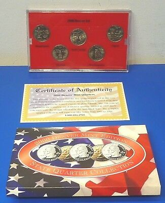 2000 Denver Mint Edition State Quarter Collection 5 Coin Set With COA