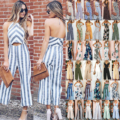 UK Womens Long Romper Playsuit Ladies Summer Holiday Wide Leg Trousers Jumpsuit