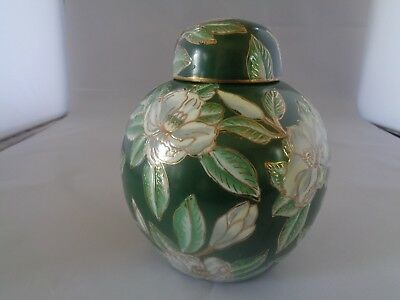 Green Ginger Jar with Hand Painted Flowers and Gold Trim!
