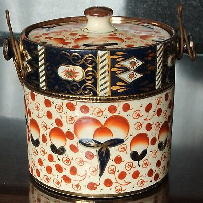 Mid Victorian GAUDY WELSH Biscuit Barrel, Imari Style Pattern with Gilding