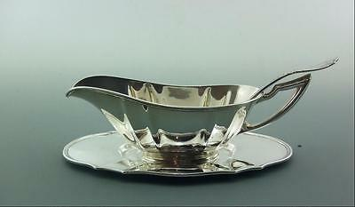Sterling Solid Silver American Sauce Boat And Stand With Ladle  C1920