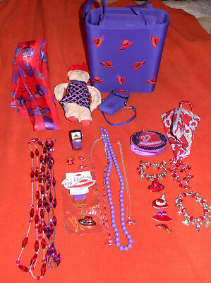 HUGE Red Hat Society Lot Purse, Scarves, Doll, Broaches, Necklaces, Umbrella, &