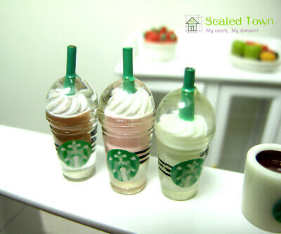 3 Dollhouse Miniature Starbucks Ice Cream Sundae Coffee Cups Food Drink 1/6 Toy