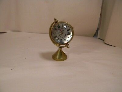 """Vtg Glass Ball Clock Soldiers Watch Swiss Made Camy 17 Jewels 2.5"""" with Stand"""