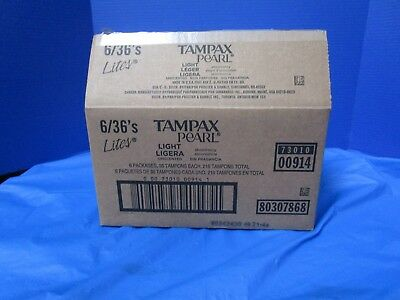 NEW Tampax Pearl  Light Unscented Tampons 36 Count (6 Pack)