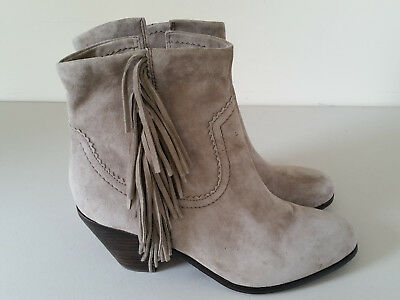 fc414ead2 SAM EDELMAN LOUIE Women s Gray Suede Leather Fringe Ankle Boots Size ...