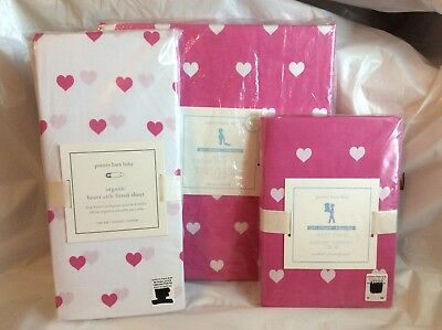 Pottery Barn Kids Bright Pink HEART Toddler Duvet/ORGANIC Fitted Sheet/Sham Crib