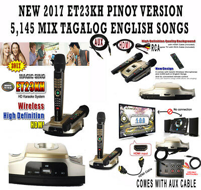 NEW MAGIC SING ET23KH karaoke 5145 OPM TAGALOG ENGLISH SONGS & 2 WIRELESS MIC