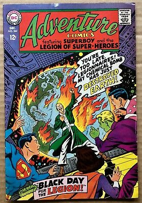 ADVENTURE COMICS #363 (1967) DC Silver Age Superboy, Legion of Super-Heroes F+