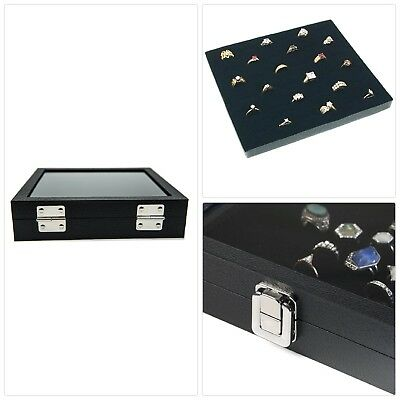 36 Slot Case Jewelry Organizer w/ Glass Top Ring Display w/ Velvet Insert Liner
