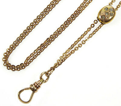 Antique Victorian 10K Gold Slider & Gf Chain Necklace